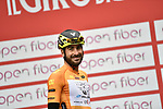 Riccardo Stacchiotti (ITA) Giotti Victoria wearing the Maglia Arancione at sign on before the start of Stage 3 of Il Giro di Sicilia running 186km from Caltanissetta to Ragusa, Italy. 5th April 2019.<br /> Picture: LaPresse/Fabio Ferrari | Cyclefile<br /> <br /> <br /> All photos usage must carry mandatory copyright credit (© Cyclefile | LaPresse/Fabio Ferrari)