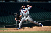 Glendale Desert Dogs starting pitcher Ben Holmes (29), of the Los Angeles Dodgers organization, delivers a pitch during an Arizona Fall League game against the Mesa Solar Sox at Sloan Park on October 27, 2018 in Mesa, Arizona. Glendale defeated Mesa 7-6. (Zachary Lucy/Four Seam Images)