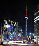 CN Tower with colorful illumination at night. Toronto, Ontario, Canada.