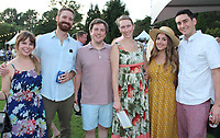 NWA Democrat-Gazette/CARIN SCHOPPMEYER Bright and Cash East (from left), Trevor and Jennifer Dongus and Patrick and Whitney Risch enjoy Chefs at the Garden on Sept. 10 at the Botanical Garden of the Ozarks in Fayetteville.