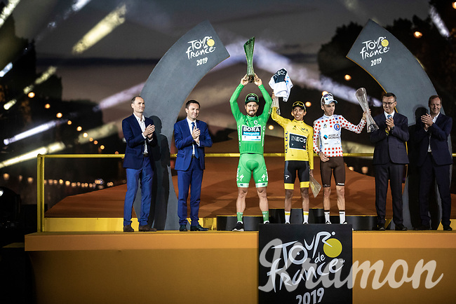 podium with the Tour de France 2019 jersey winners:<br /> <br /> Green Jersey Peter Sagan (SVK/Bora Hansgrohe)<br /> Yellow and white jersey Egan Bernal (COL/Ineos)<br /> Polka dot Jersey Romain Bardet (FRA/AG2R La Mondiale)<br /> <br /> <br /> Stage 21: Rambouillet to Paris (128km)<br /> 106th Tour de France 2019 (2.UWT)<br /> <br /> ©kramon