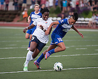 Boston Breakers forward Lianne Sanderson (10) is tackled by Sky Blue FC forward Danesha Adams (9) near the Sky Blue goal.  In a National Women's Soccer League Elite (NWSL) match, Sky Blue FC defeated the Boston Breakers, 3-2, at Dilboy Stadium on June 16, 2013