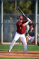 Boston College Eagles designated hitter Scott Braren (12) at bat during a game against the Minnesota Golden Gophers on February 23, 2018 at North Charlotte Regional Park in Port Charlotte, Florida.  Minnesota defeated Boston College 14-1.  (Mike Janes/Four Seam Images)