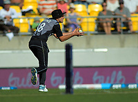 Tim Southee catches Saqib Mahmood. Twenty20 International cricket match between NZ Black Caps and England at Westpac Stadium in Wellington, New Zealand on Sunday, 3 November 2019. Photo: Dave Lintott / lintottphoto.co.nz