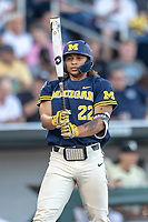 Michigan Wolverines outfielder Jordan Brewer (22) at the plate against the Vanderbilt Commodores during Game 3 of the NCAA College World Series Finals on June 26, 2019 at TD Ameritrade Park in Omaha, Nebraska. Vanderbilt defeated Michigan 8-2 to win the National Championship. (Andrew Woolley/Four Seam Images)