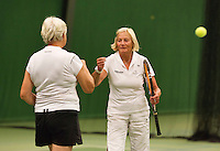 August 22, 2014, Netherlands, Amstelveen, De Kegel, National Veterans Championships, Wil Baks(L) and Anneke Jeltsma-de Jong<br /> Photo: Tennisimages/Henk Koster