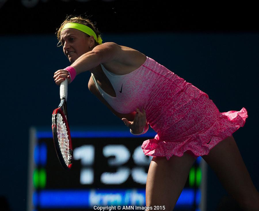 Petra Kvitova (CZE)<br /> <br /> Tennis - Australian Open 2015 - Grand Slam -  Melbourne Park - Melbourne - Victoria - Australia  - 22 January 2015. <br /> &copy; AMN IMAGES