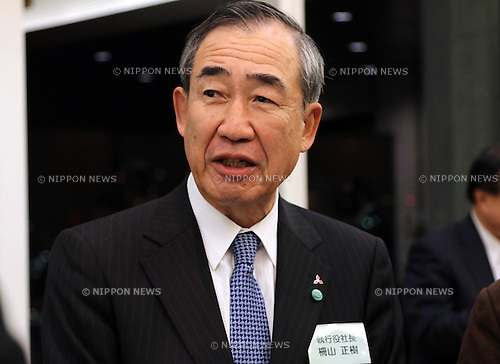 January 12, 2017, Tokyo, Japan - Japan's Mitsubishi Electric president Masaki Sakuyama speaks before press at the company's New Year party in Tokyo on Thursday, January 12, 2017. The Labor Ministry referred Mitsubishi Electric to prosecutors on suspicion of forcing excessive overtime on a male worker on January 11.   (Photo by Yoshio Tsunoda/AFLO) LWX -ytd-