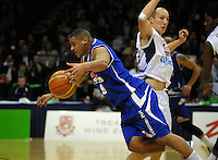 Saints guard Corey Webster is fouled by Phill Jones. NBL Semifinal - Wellington Saints v Nelson Giants at TSB Bank Arena, Wellington, New Zealand on Friday, 15 July 2011. Photo: Dave Lintott / lintottphoto.co.nz