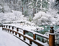 USA, Oregon, Winter snowfall at the Japanese Garden in Portland.