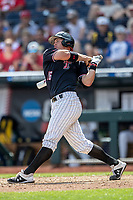 Texas Tech Red Raiders shortstop Josh Jung (16) follows through on his swing during Game 1 of the NCAA College World Series against the Michigan Wolverines on June 15, 2019 at TD Ameritrade Park in Omaha, Nebraska. Michigan defeated Texas Tech 5-3. (Andrew Woolley/Four Seam Images)
