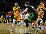 SIOUX FALLS, SD - MARCH 10: Vinnie Shahid #0 of the North Dakota State Bison looks to make a move agains Filip Rebraca #12 of the North Dakota Fighting Hawks during the men's championship game at the 2020 Summit League Basketball Tournament in Sioux Falls, SD. (Photo by Dave Eggen/Inertia)