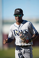 Peoria Javelinas shortstop Lucius Fox (5), of the Tampa Bay Rays organization, jogs off the field during an Arizona Fall League game against the Mesa Solar Sox at Sloan Park on November 6, 2018 in Mesa, Arizona. Mesa defeated Peoria 7-5 . (Zachary Lucy/Four Seam Images)