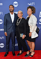 LOS ANGELES, USA. June 07, 2019: Michael B. Jordan, Donna Jordan & Jamila Jordan at the AFI Life Achievement Award Gala.<br /> Picture: Paul Smith/Featureflash