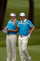 European Team player Justin Rose confers with partner Ian Poulter on the 15th fairway during the Morning Foursomes on Day 2 of the Ryder Cup at Valhalla Golf Club, Louisville, Kentucky, USA, 20th September 2008 (Photo by Eoin Clarke/GOLFFILE)