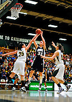 31 January 2010: University of New Hampshire Wildcats' center Jill McDonald, a Junior from Middlebury, VT, hooks a shot against the University of Vermont Catamounts at Patrick Gymnasium in Burlington, Vermont. The Lady Catamounts defeated the visiting Wildcats 78-64. Mandatory Credit: Ed Wolfstein Photo