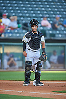 Roberto Pena (31) of the Salt Lake Bees during the game against the Round Rock Express at Smith's Ballpark on June 10, 2019 in Salt Lake City, Utah. The Bees defeated the Express 9-7. (Stephen Smith/Four Seam Images)