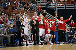 Wisconsin Badgers celebrate Sam Dekker (15) 3-pointer during  a regional semifinal NCAA college basketball tournament game against the Baylor Bears Thursday, March 27, 2014 in Anaheim, California. The Badgers won 69-52. (Photo by David Stluka)