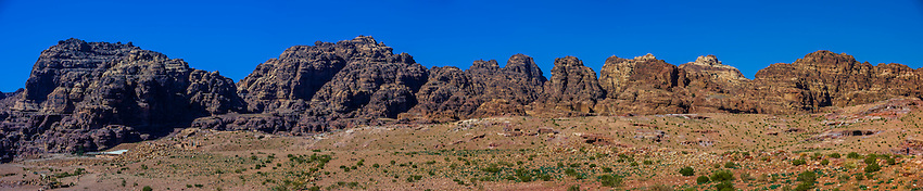 Panoramic view, Petra Archaeological Park (a UNESCO World Heritage Site), Petra, Jordan.
