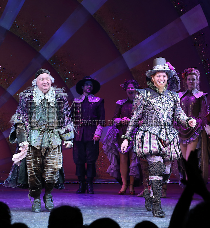 Gerry Vichi and Peter Bartlett during the Broadway Opening Night Curtain Call for 'Something Rotten' at the St. James Theatre on April 22, 2015 in New York City.
