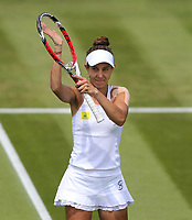 Mihaela Buzarnescu (ROU) acknowledges the crowd after winning her match against Katie Swan (GBR)<br /> <br /> Photographer Rob Newell/CameraSport<br /> <br /> Wimbledon Lawn Tennis Championships - Day 3 - Wednesday 4th July 2018 -  All England Lawn Tennis and Croquet Club - Wimbledon - London - England<br /> <br /> World Copyright &not;&uml;&not;&copy; 2017 CameraSport. All rights reserved. 43 Linden Ave. Countesthorpe. Leicester. England. LE8 5PG - Tel: +44 (0) 116 277 4147 - admin@camerasport.com - www.camerasport.com