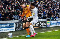 Leeds United's Helder Costa vies for possession with Huddersfield Town's Sean McLoughlin<br /> <br /> Photographer Alex Dodd/CameraSport<br /> <br /> The EFL Sky Bet Championship - Hull City v Leeds United - Saturday 29th February 2020 - KCOM Stadium - Hull<br /> <br /> World Copyright © 2020 CameraSport. All rights reserved. 43 Linden Ave. Countesthorpe. Leicester. England. LE8 5PG - Tel: +44 (0) 116 277 4147 - admin@camerasport.com - www.camerasport.com