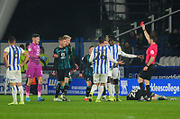 Trevoh Chalobah of Huddersfield Town is shown a red card during the Sky Bet Championship match between Huddersfield Town and Swansea City at The John Smith's Stadium in Huddersfield, England, UK. Tuesday 26 November 2019