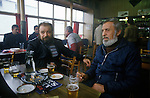 Ullapool Scotland. 1986. Bulgarian factory fishermen in the Seaforth Hotel bar.