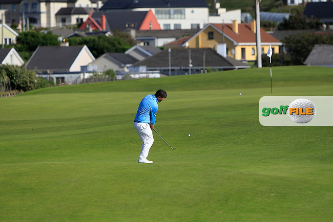 Stuart Bleakley (Shandon Park) on the 18th during Round 2 of the South of Ireland Amateur Open Championship at LaHinch Golf Club on Thursday 23rd July 2015.<br /> Picture:  Golffile | Thos Caffrey