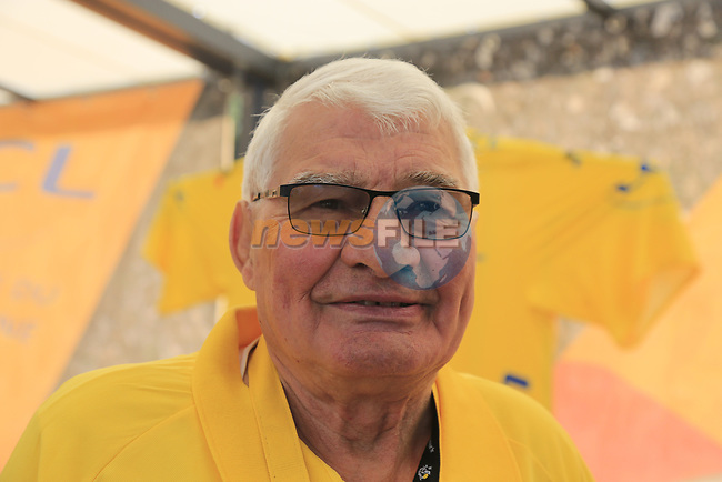 Former champion cyclist Raymond Poulidor (FRA) on the LCL stand The Tour Village at sign on in Verviers before the start of Stage 3 of the 104th edition of the Tour de France 2017, running 212.5km from Verviers, Belgium to Longwy, France. 3rd July 2017.<br /> Picture: Eoin Clarke | Cyclefile<br /> <br /> <br /> All photos usage must carry mandatory copyright credit (&copy; Cyclefile | Eoin Clarke)