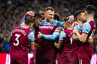 West Ham United players celebrating Sebastien Haller goal during the Premier League match between West Ham United and Crystal Palace at the Olympic Park, London, England on 5 October 2019. Photo by Andrew Aleksiejczuk / PRiME Media Images.