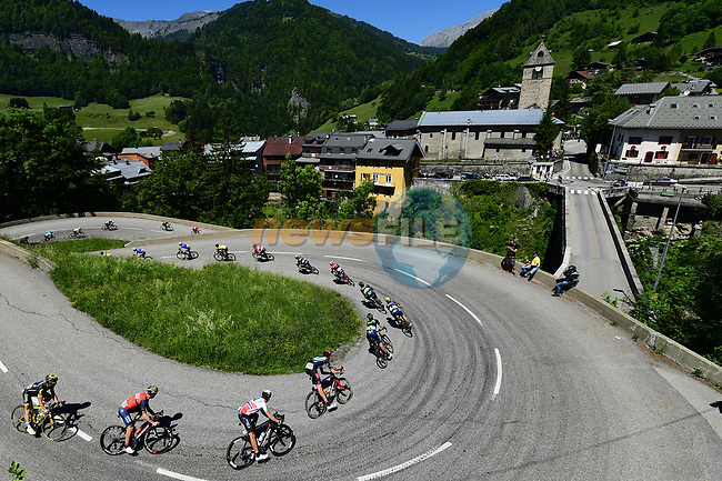 The peloton descending into Flumet during Stage 8 of the Criterium du Dauphine 2017, running 115km from Albertville to Plateau de Solaison, France. 11th June 2017. <br /> Picture: ASO/A.Broadway | Cyclefile<br /> <br /> <br /> All photos usage must carry mandatory copyright credit (&copy; Cyclefile | ASO/A.Broadway)