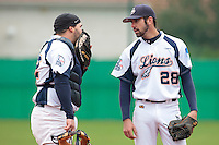 17 October 2010: Pierrick Lemestre of Savigny talks to Vincent Ferreira against Rouen during Rouen 10-5 win over Savigny, during game 2 of the French championship finals, in Savigny sur Orge, France.