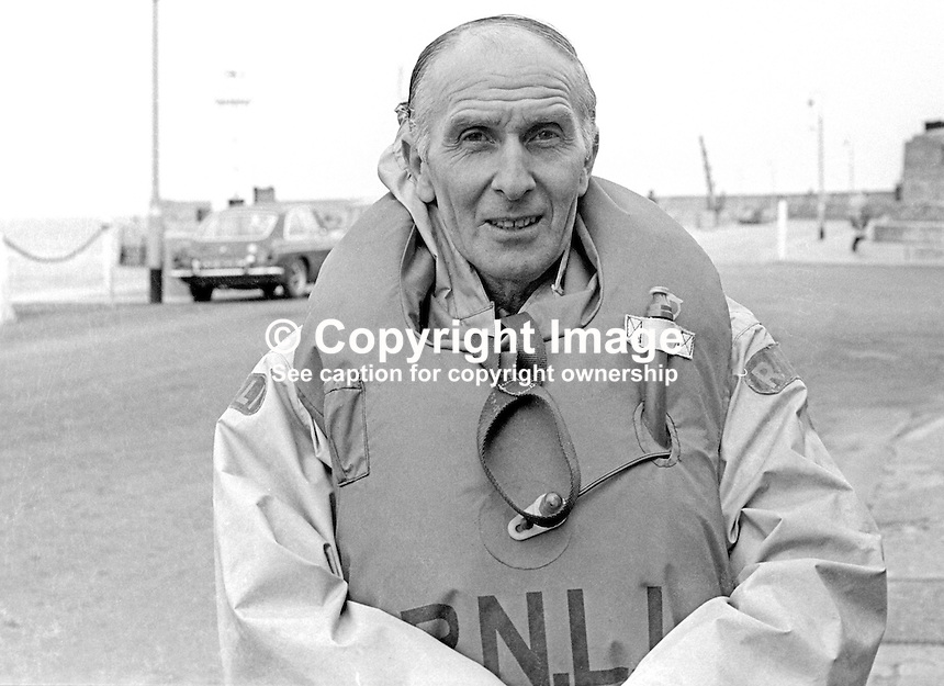 Jack Simpson, cox, Donaghaghadee Lifeboat, Co Down, N Ireland, UK, Royal National Lifeboat Institution, March 1973, 197303280155b.<br />
