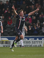 Richard Brittain celebrates his goal in the St Mirren v Ross County Clydesdale Bank Scottish Premier League match played at St Mirren Park, Paisley on 19.1.13.
