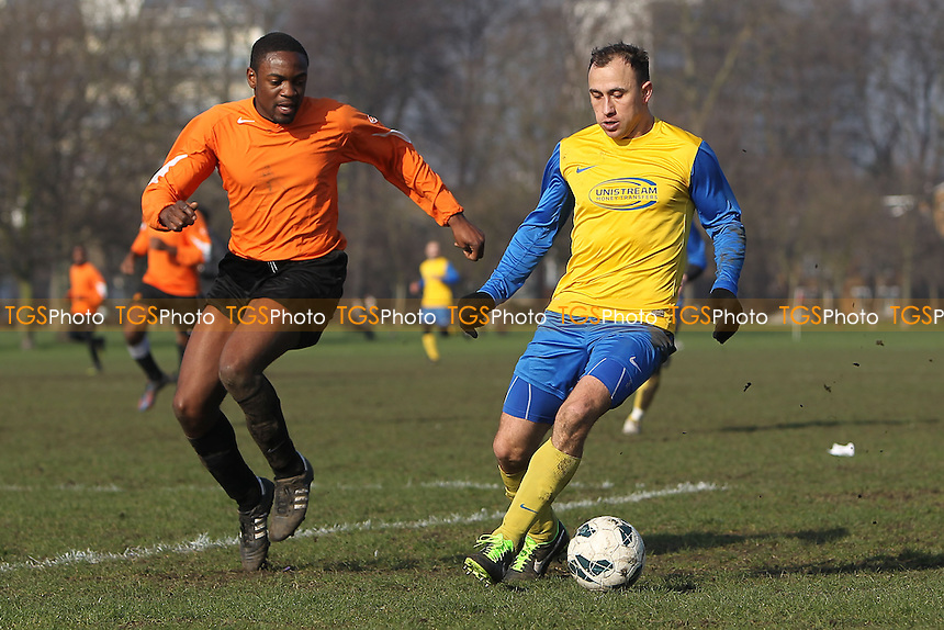 Niva Unistream (yellow/blue) vs FC Bartlett - Hackney & Leyton Sunday League Albert Daniels Senior Cup Football at Victoria Park, London - 17/02/13 - MANDATORY CREDIT: Gavin Ellis/TGSPHOTO - Self billing applies where appropriate - 0845 094 6026 - contact@tgsphoto.co.uk - NO UNPAID USE.