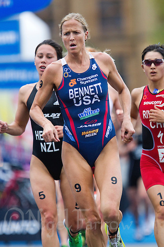 10 APR 2011 - SYDNEY, AUS - Laura Bennett leads Andrea Hewitt (left) and Barbara Riveros Diaz (right) on the run during the women's ITU World Championship Series triathlon in Sydney, Australia  (PHOTO (C) NIGEL FARROW)