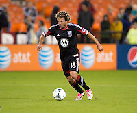 Nick DeLeon (18) of D.C. United sprints forward during a Major League Soccer game at RFK Stadium in Washington, DC. D.C. United tied the Philadelphia Union, 1-1.