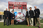 09 December 2007: The tournament's referees pose for a group shot. From left: Kevin Bowers, Tim Debysingh, Karen Swanner, Rachel Woo, Misail Tsapos, and Peter Dhima. The University of Southern California Trojans defeated the Florida State University Seminoles 2-0 at the Aggie Soccer Stadium in College Station, Texas in the NCAA Division I Womens College Cup championship game.