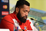 ENG - Newcastle upon Tyne, England, October 08: During the Media Conference at the Captains Run of Tonga on October 8, 2015 at St. James Park in Newcastle upon Tyne, England. (Photo by Dirk Markgraf / www.265-images.com) *** Local caption *** Viliami Ma'afu of Tonga