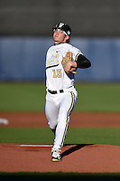 Vanderbilt Commodores starting pitcher Carson Fulmer (15) delivers a pitch during a game against the Indiana State Sycamores on February 20, 2015 at Charlotte Sports Park in Port Charlotte, Florida.  Vanderbilt defeated Indiana State 3-2.  (Mike Janes/Four Seam Images)