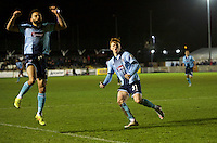 Jon Nolan of Grimsby Town celebrates after  scoring the equaliser to make it 1-1 during the Vanarama National League match between Bromley and Grimsby Town at Hayes Lane, Bromley, England on 9 February 2016. Photo by Alan  Stanford.