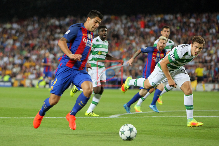 UEFA Champions League 2016/2017 - Matchday 1.<br /> FC Barcelona vs Celtic FC: 7-0.<br /> Luis Suarez vs Erik Sviatchenko.