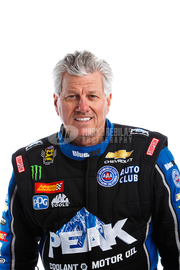 Feb 8, 2017; Pomona, CA, USA; NHRA funny car driver John Force poses for a portrait during media day at Auto Club Raceway at Pomona. Mandatory Credit: Mark J. Rebilas-USA TODAY Sports