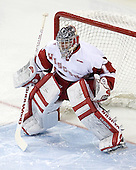 Brian Elliott 1 of the University of Wisconsin takes part in warmups. The Boston College Eagles defeated the University of Wisconsin Badgers 3-0 on Friday, October 27, 2006, at the Kohl Center in Madison, Wisconsin in their first meeting since the 2006 Frozen Four Final which Wisconsin won 2-1 to take the national championship.<br />