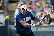 Washington, DC - August 9, 2015:  John Isner (USA) prepares to hit a backhand shot during the ATP Men's final at the Citi Open held at the Rock Creek Park Tennis Center in Washington, DC  August 9, 2015.  (Photo by Elliott Brown/Media Images International)