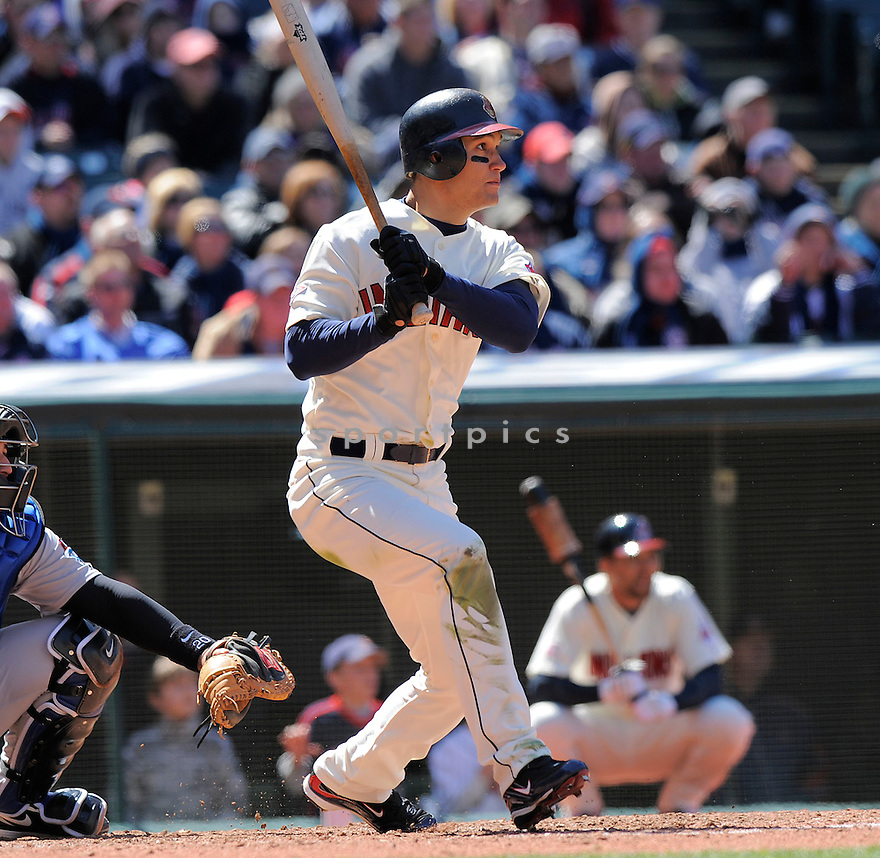 GRADY SIZEMORE, of the Cleveland Indians , in action  during the Indians game against the Toronto Blue Jays  on April 11, 2009 in Cleveland, Ohio  The Blue Jays beat  the Indians 5-4.