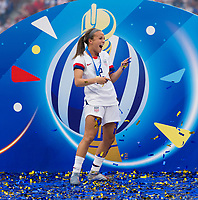LYON,  - JULY 7: Mallory Pugh #2 celebrates during a game between Netherlands and USWNT at Stade de Lyon on July 7, 2019 in Lyon, France.