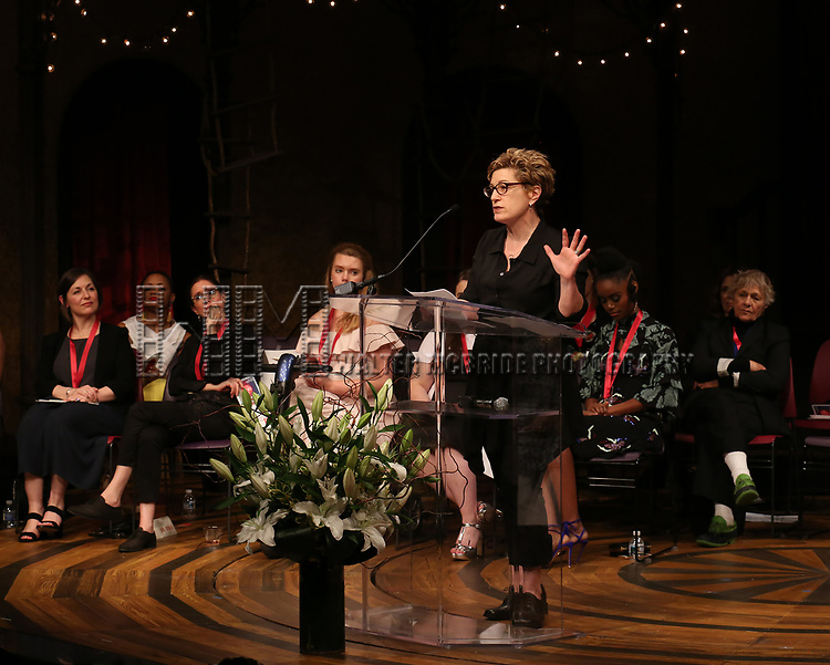 Lisa Kron on stage at the The Lilly Awards  at Playwrights Horizons on May 22, 2017 in New York City.
