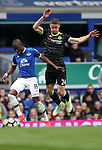 Enner Valencia of Everton and Gary Cahill of Chelsea during the English Premier League match at Goodison Park , Liverpool. Picture date: April 30th, 2017. Photo credit should read: Lynne Cameron/Sportimage